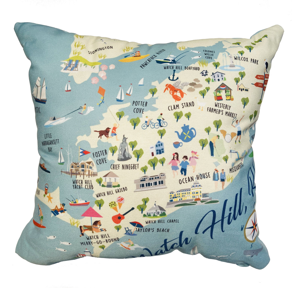 "Watch Hill, RI - 18"" Square Pillow"