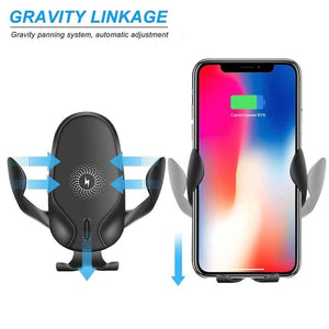 15W Wireless Car Charger Mount Gravity Clamping Fast Charging (iphone/Samsung)-thesalelocker.com
