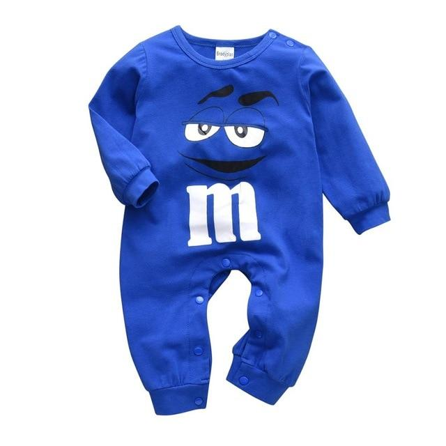 Baby 100% Soft Cotton Long Sleeve Blue Candy Romper-thesalelocker.com