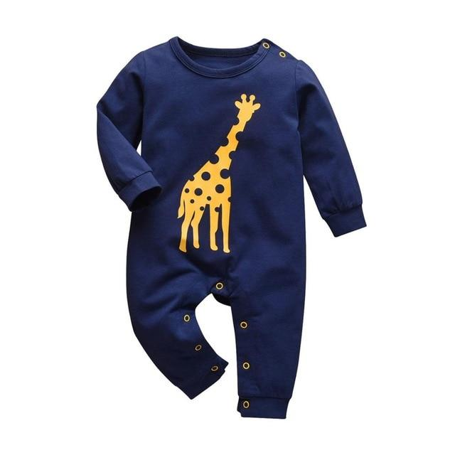 Baby Boy & Girl 100% Soft Cotton Long Sleeve Blue Giraffe Romper - thesalelocker.com