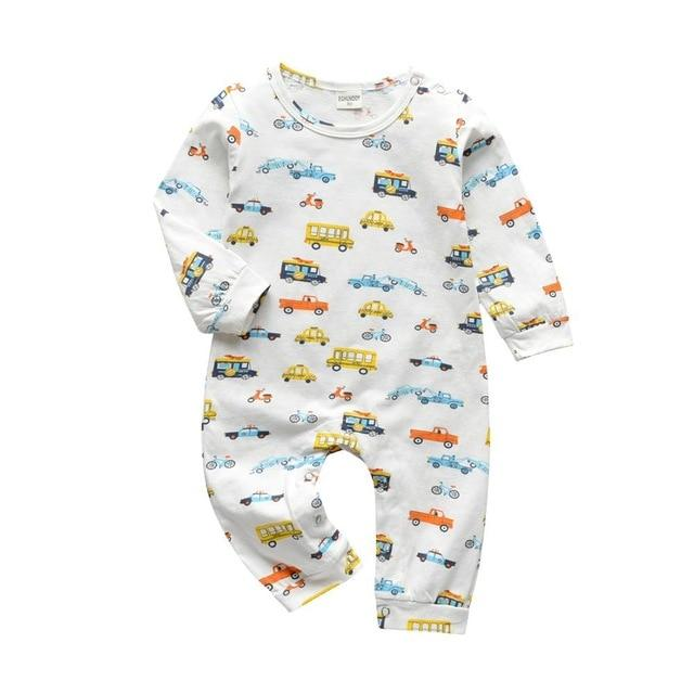 Baby Boy & Girl 100% Soft Cotton Long Sleeve Cars Romper-thesalelocker.com