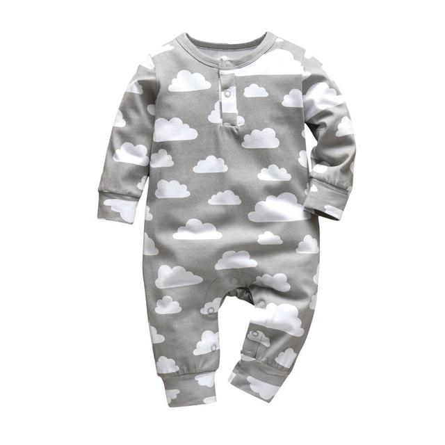 Baby Boy & Girl 100% Soft Cotton Long Sleeve Clouds Romper-thesalelocker.com