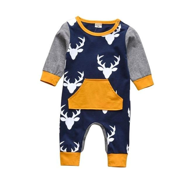 Baby Boy & Girl 100% Soft Cotton Long Sleeve Deer Romper - thesalelocker.com