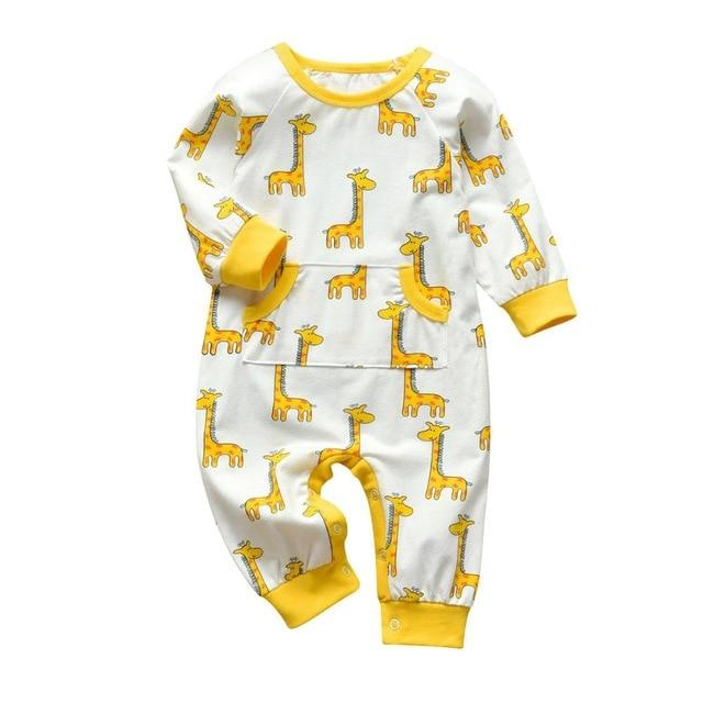 Baby Boy & Girl 100% Soft Cotton Long Sleeve Giraffe Romper - thesalelocker.com