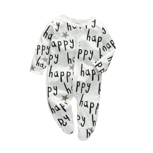 Baby Boy & Girl 100% Soft Cotton Long Sleeve Happy Romper - thesalelocker.com