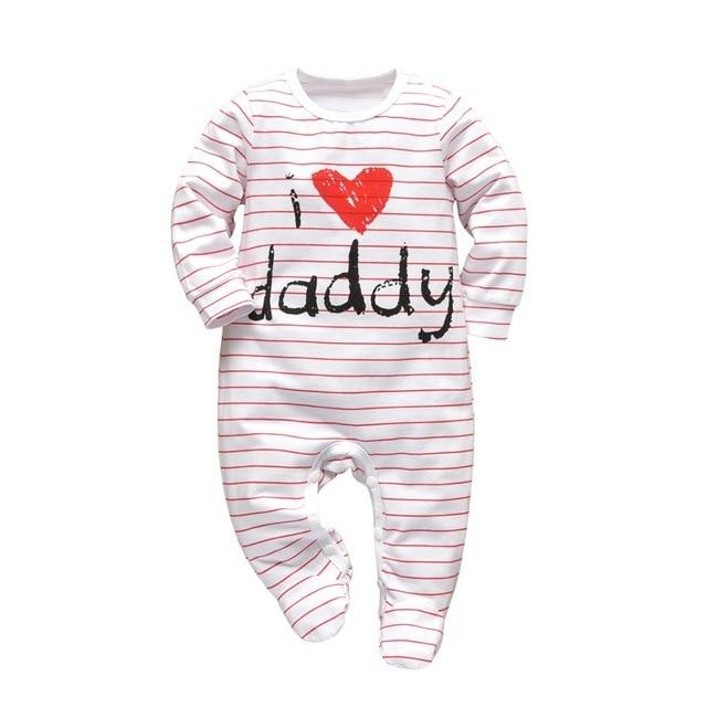 Baby Boy & Girl 100% Soft Cotton Long Sleeve I ❤ Daddy Romper - thesalelocker.com