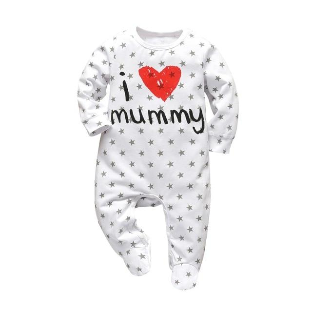 Baby Boy & Girl 100% Soft Cotton Long Sleeve I ❤ Mommy Romper-thesalelocker.com