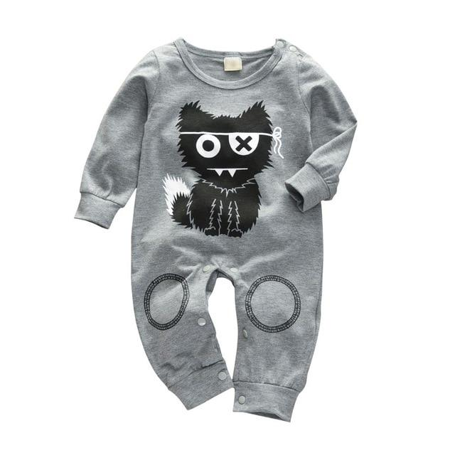 Baby Boy & Girl 100% Soft Cotton Long Sleeve Kitty Romper - thesalelocker.com