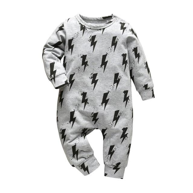 Baby Boy & Girl 100% Soft Cotton Long Sleeve Lightning Romper-thesalelocker.com