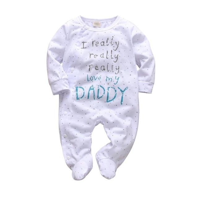 Baby Boy & Girl 100% Soft Cotton Long Sleeve Love Daddy Romper-thesalelocker.com