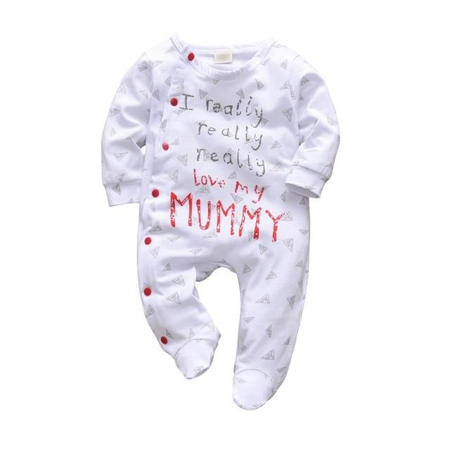 Baby Boy & Girl 100% Soft Cotton Long Sleeve Love Mommy Romper-thesalelocker.com