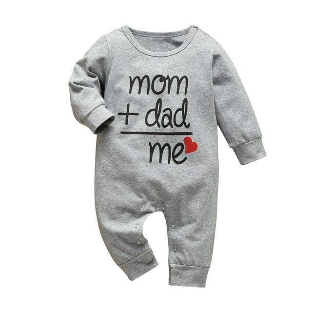 Baby Boy & Girl 100% Soft Cotton Long Sleeve Mom & Dad Romper - thesalelocker.com