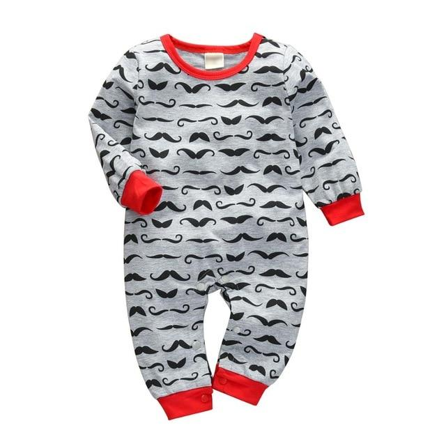 Baby Boy & Girl 100% Soft Cotton Long Sleeve Mustache Romper-thesalelocker.com