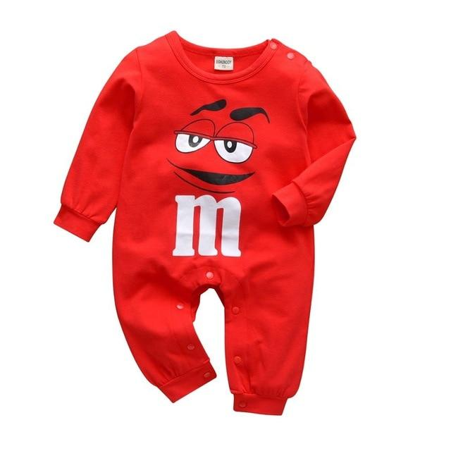 100% Soft Cotton Long Sleeve Red M & M Romper-thesalelocker.com
