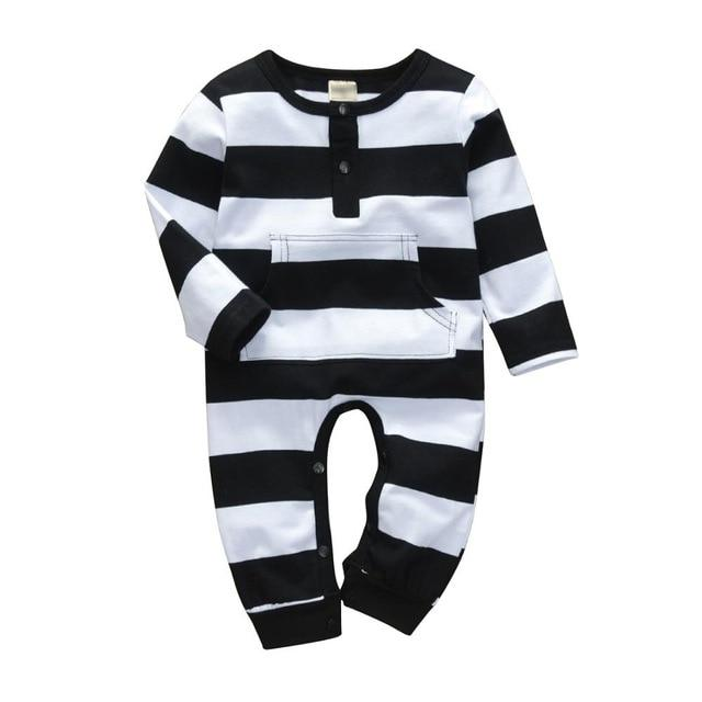 Baby Boy & Girl 100% Soft Cotton Long Sleeve Striped Romper - thesalelocker.com