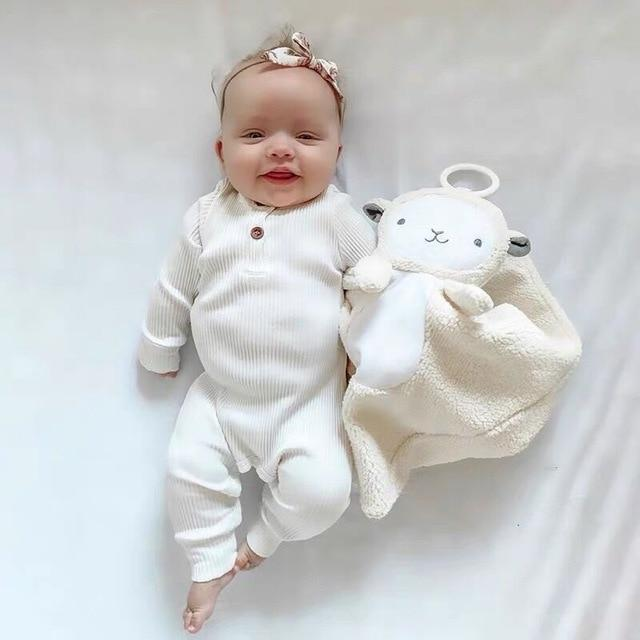 Baby Boy & Girl 100% Soft Cotton Long Sleeve White Romper-thesalelocker.com