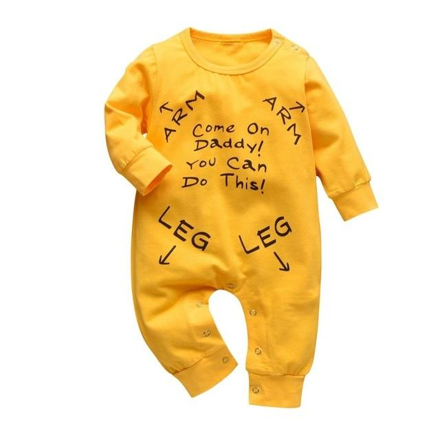 Baby Boy & Girl 100% Soft Cotton Long Sleeve Yellow Romper-thesalelocker.com