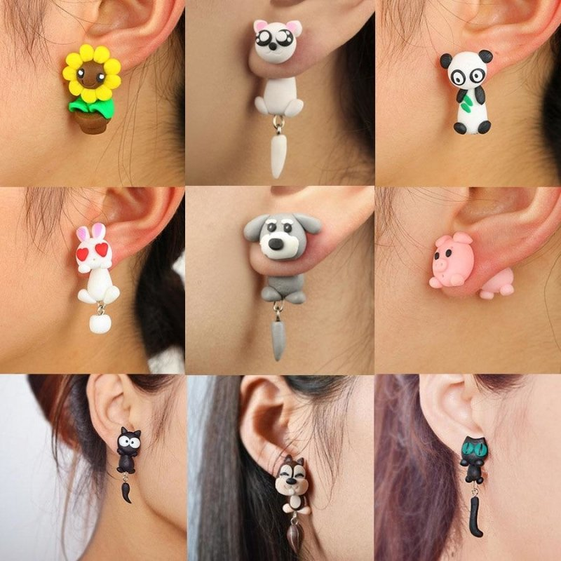 Handmade Clay Animal Earrings-thesalelocker.com