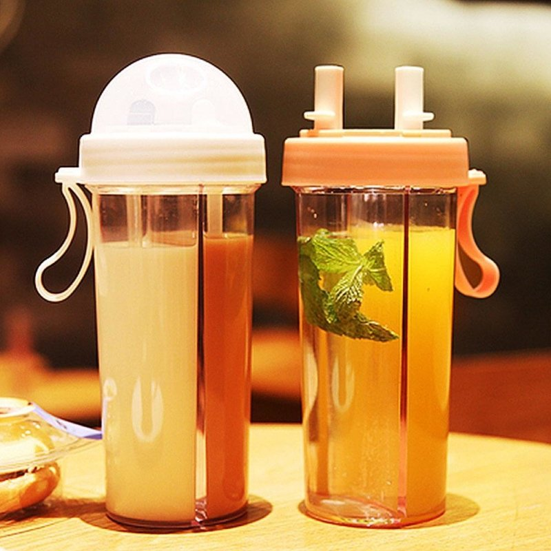 New! Portable Dual Straw Water Bottle - thesalelocker.com