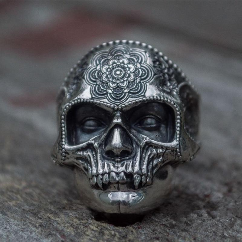 Sugar Skull Ring Mandala Flower Santa Muerte Biker Jewelry-thesalelocker.com