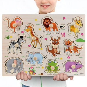 Wooden Puzzle Boards Educational Toys African Animals - thesalelocker.com