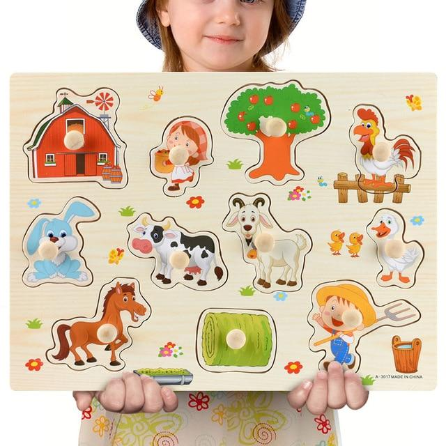 Wooden Barnyard Puzzle Board Educational Toys-thesalelocker.com
