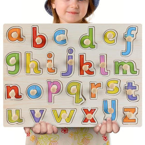 Wooden Puzzle Boards Educational Toys Lowercase Letters - thesalelocker.com