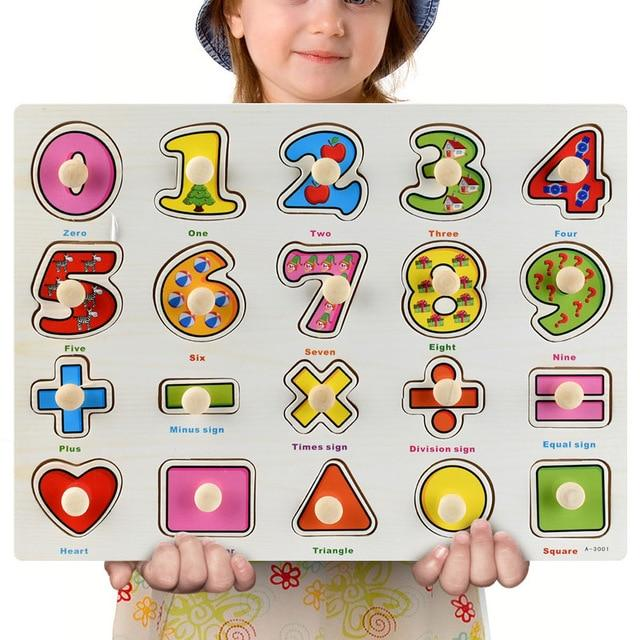 Wooden Puzzle Boards Educational Toys Numbers & Shapes-thesalelocker.com