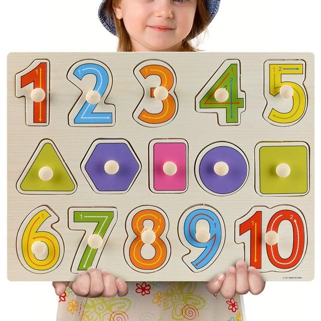 Wooden Puzzle Boards Educational Toys Numbers & Shapes - thesalelocker.com