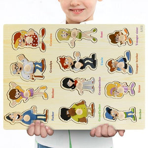 Wooden Puzzle Boards Educational Toys People Puzzle - thesalelocker.com
