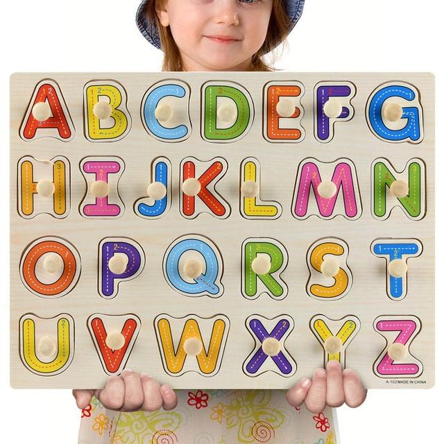 Wooden Puzzle Boards Educational Toys Uppercase Letters-thesalelocker.com