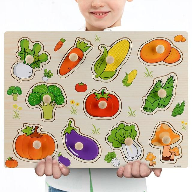 Wooden Puzzle Boards Educational Toys Vegetables - thesalelocker.com