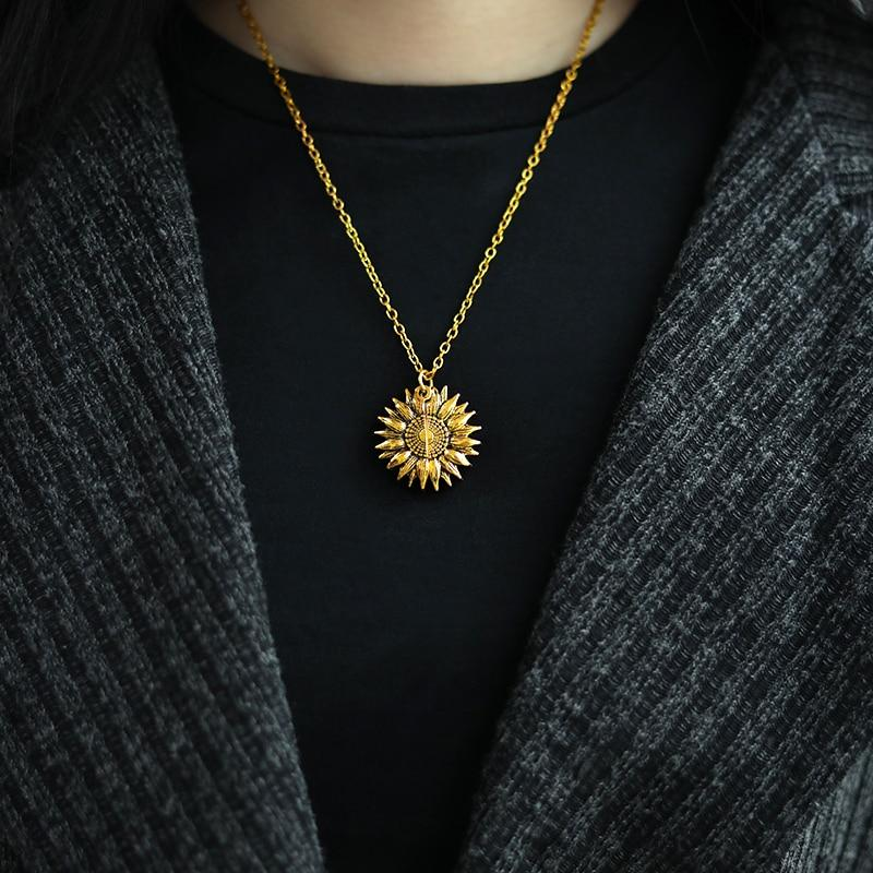 You are my sunshine open locket sunflower necklace - thesalelocker.com