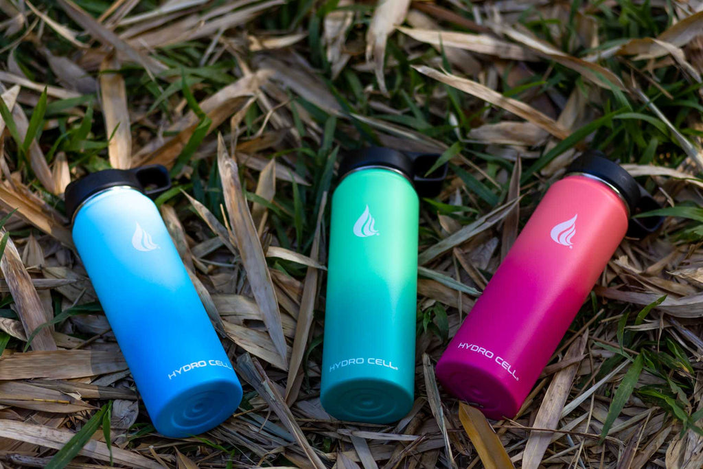 Three BPA-free water bottles in different colors