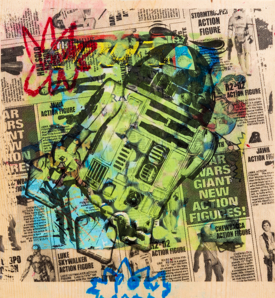 R2-D2 with a Propellor Hat Art Transfer on Wood