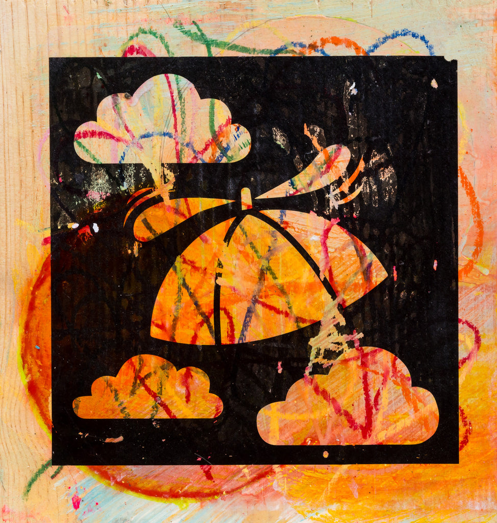 Rainbow Hat with a Propellor Art Transfer on Wood #6