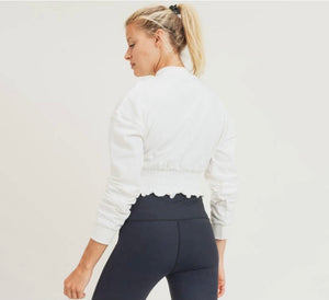 Cropped Pullover with Shirring - White