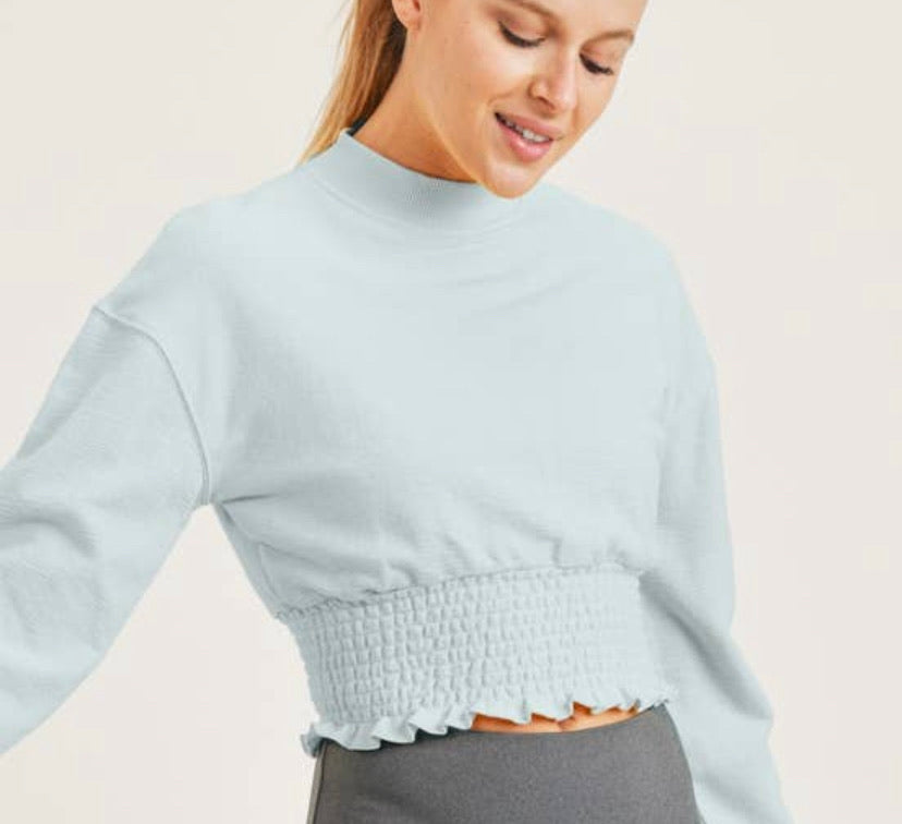 Cropped Pullover with Shirring - Surf Spray