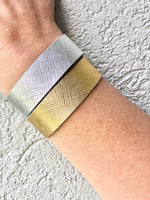 Gold and Silver Slim Leather Cuff bracelets