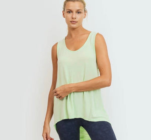 Neon Lime Draped Back Tank