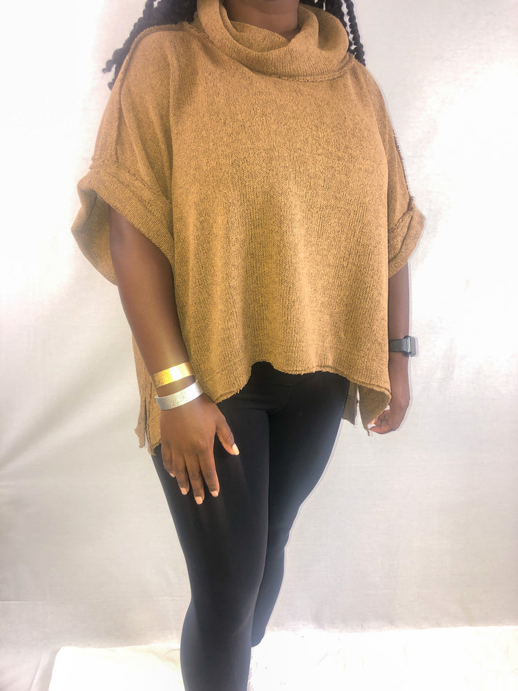 Mocha short sleeve sweater | FINAL SALE