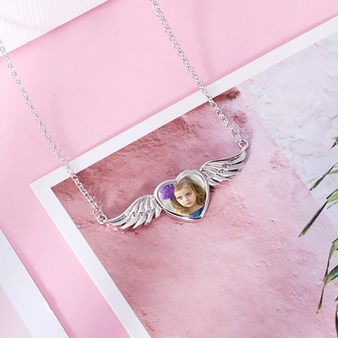 Image of Sweey Droshipping Personalized Trendy Photo Angel Wing Necklace Custom Engraved Photo Necklace with Angel Wing - The Pet Shopco