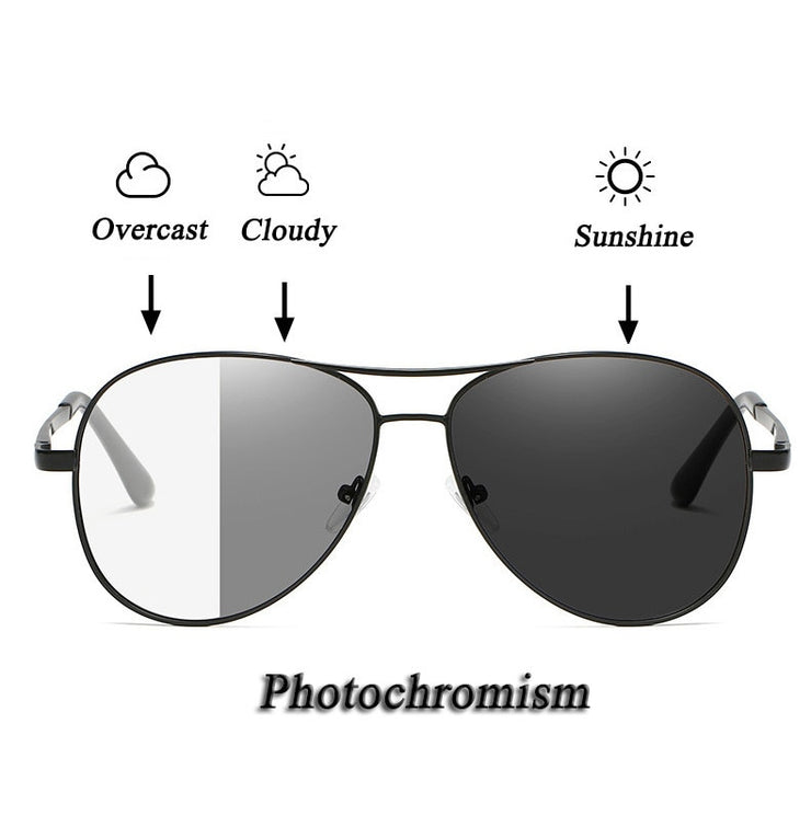 Pilot Style Polarized Photochromic Sunglasses With UV400 Protection