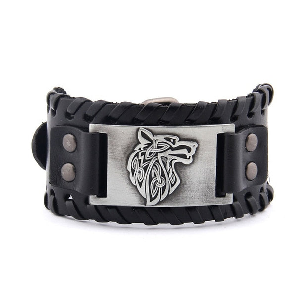 Viking Wolf Genuine Leather Bracelet