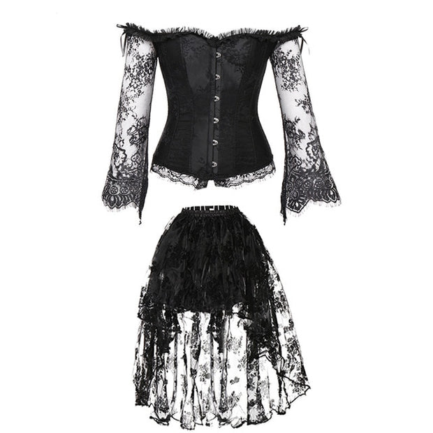 Lace Corset And Skirt Two Piece Dress
