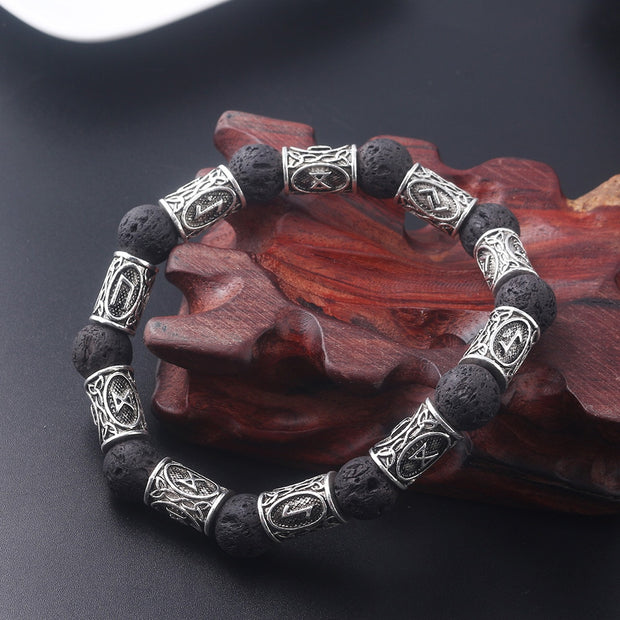 Viking Rune And Lava Stone Bangle
