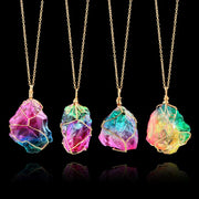 Rainbow Stone Pendant Necklace For Natural Healing