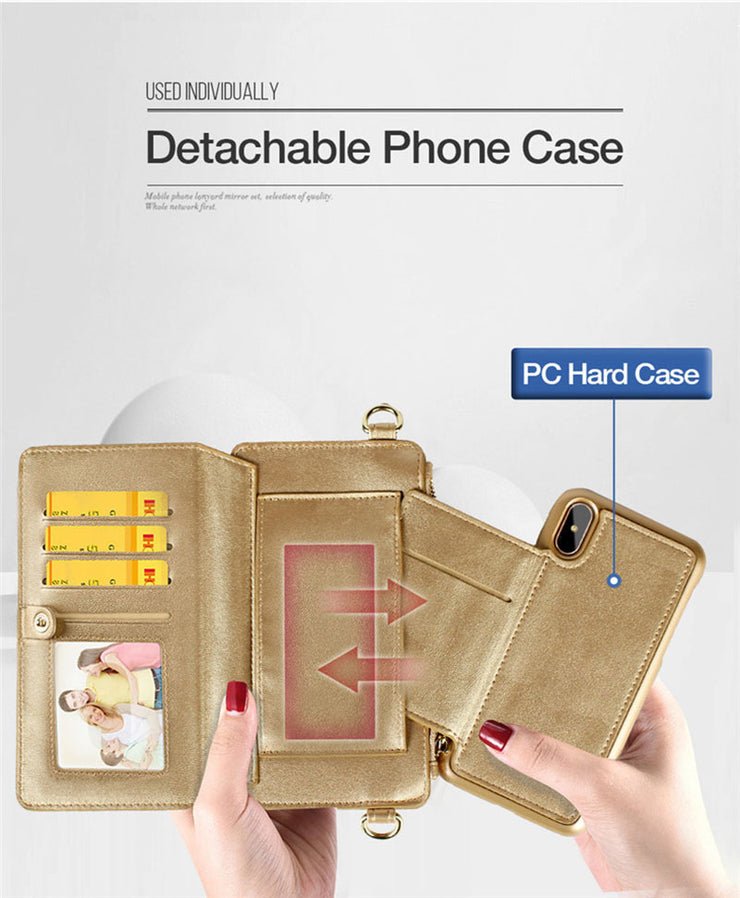 4 in 1 Leather Wallet iPhone Case