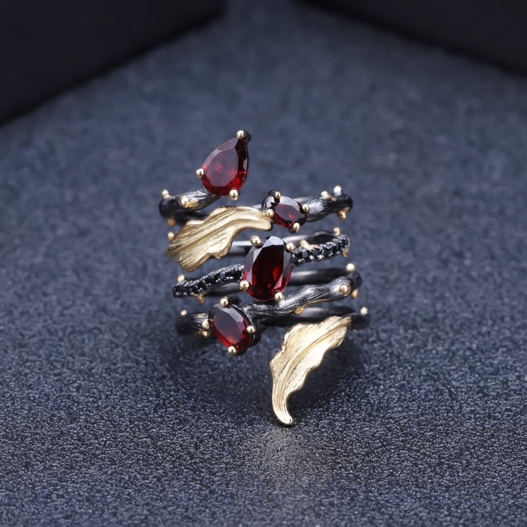 Natural Red Garnet Gemstone Ring Sterling Sliver