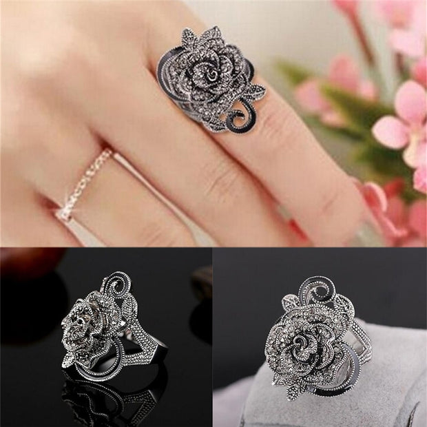 Black Rose Crystal Ring